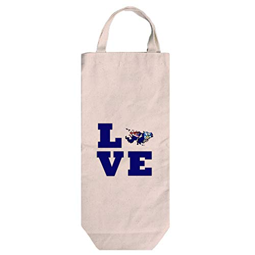 Love Falkland Island Country Flag Map Cotton Canvas Wine Bag Tote With ()