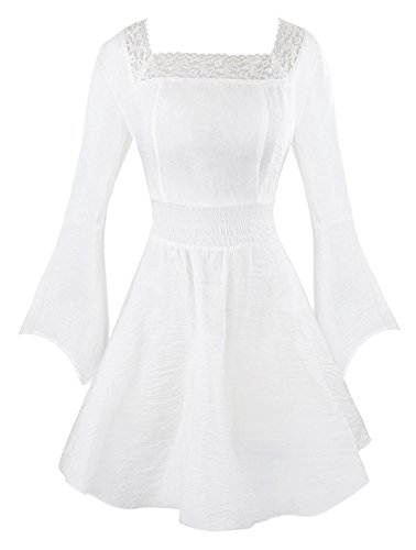 [ShaoYinHuas Women's Victorian Gothic Tencel Cotton Lace Corset Top Tunic Dress White Medium] (Costumes Halloween Yahoo)