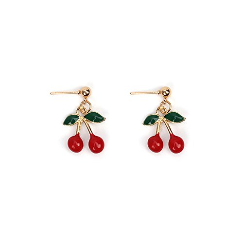 Flower Charm Drop Pendant - Cherry Necklace Fruit Pendant Charm Dangle Drop Earrings Fashion Fruit Jewelry Set for Teen Girls (earrings)