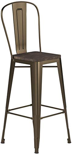 Astounding Dhp Luxor Metal Counter Stool With Wood Seat And Backrest Gmtry Best Dining Table And Chair Ideas Images Gmtryco