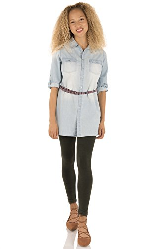 WallFlower Women's Chambray Button Down Tunic with Tribal Belt, Rena, M Rena Tunic