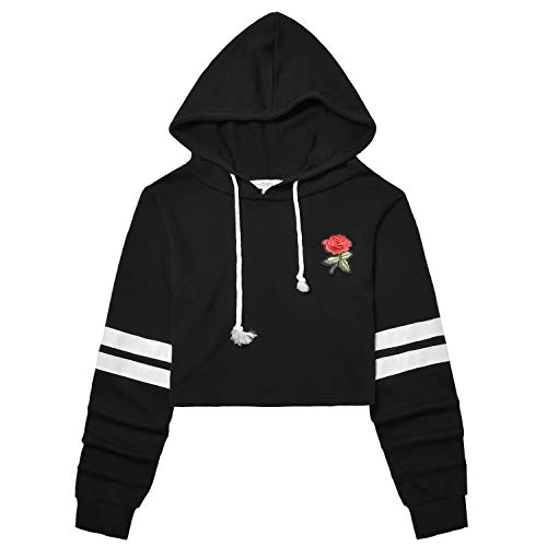 Perfashion Women's Cropped Hoodie Stripes Long Sleeve Black Rose Embroidered Crop Tops Pullover - Kids Crop