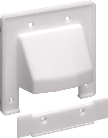 Double Gang Scoop Plate White With Removable Section-2pack