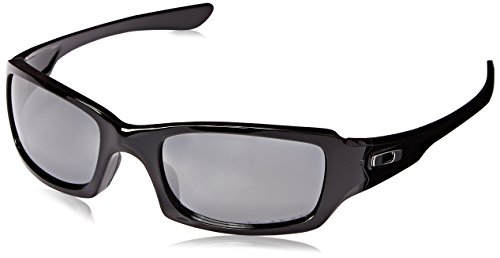 Oakley Men's OO9238 Fives Squared Rectangular Sunglasses, Polished Black/Black Iridium Polarized, 54 mm