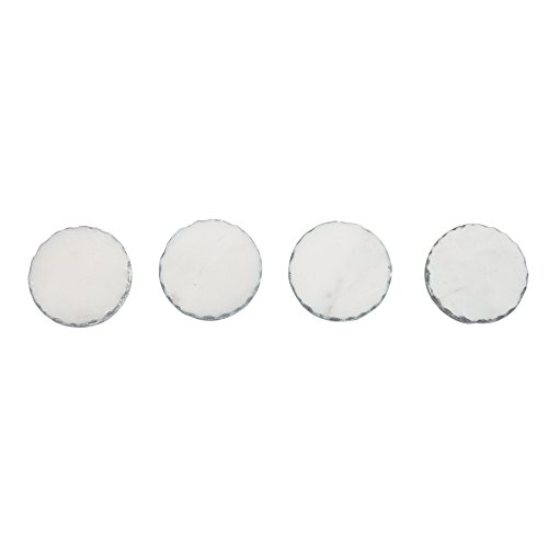 Mud Pie 4256001S Silver Foiled Marble Coaster Set, White