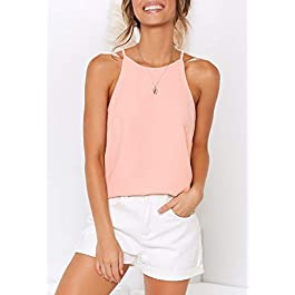 THANTH Womens Halter Tops Sleeveless Summer Strap Tank Tops High Neck Casual Cami Tops Tee