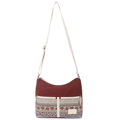 la Viajes Ladies Bolsas Bag Mujeres de Retro Lona Las Femenino Estilo Hombro Bolso Crossbody Daily de Floral Messenger Rojo de qaYFO