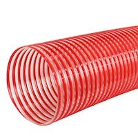 Clear//Red 5 x 10 Premium Dust Collection Hose ATEX Rated Abrasion Resistant Antistatic