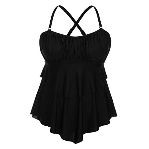 TANLANG Womens Boycut Swimsuits Two Piece Plus Size Swimsuits for Women Body Swiming Shorts Tankini Set Black