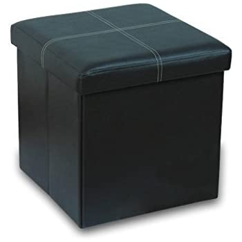 Otto u0026 Ben 15 inch Line Design Memory foam Seat Folding Storage Ottoman Bench with Faux  sc 1 st  Amazon.com & Amazon.com: Sorbus STRG-OTM-BLK Faux Leather Folding Ottoman: Home ... islam-shia.org