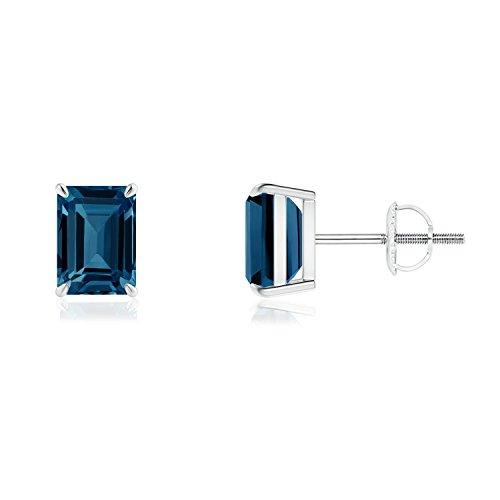 (Claw-Set Emerald-Cut London Blue Topaz Solitaire Earrings in 14K White Gold (7x5mm London Blue Topaz))
