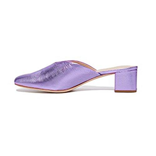 XYD Casual Slip On Mule Shoes Low Heel Slide Slippers Round Toe Dress Loafers Easy Walking For Women Purple EbUu1W7