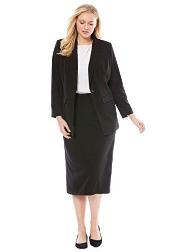 Black Jacket Skirt Suit (Jessica London Women's Plus Size Petite Single-Breasted Skirt Suit Black,16 W)