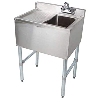 Stainless Steel Commercial Single One Compartment Under Bar Sink with Left Drainboard 19 x 24