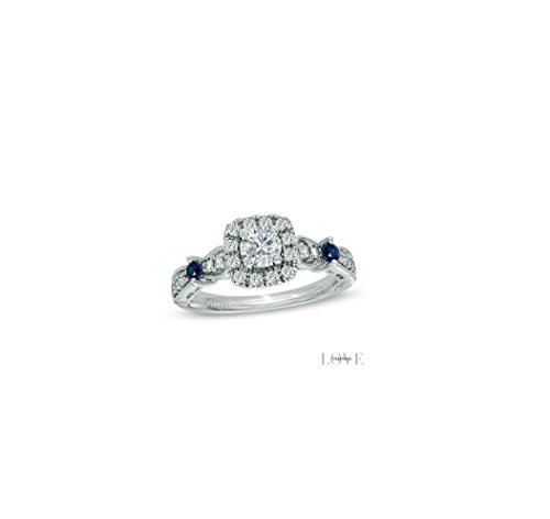 Vera Wang LOVE Collection 0.70 CT. T.W. Diamond Engagement Vintage-Style Ring in 14K White Gold All Sizes