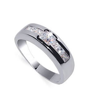 Gem Avenue Rhodium Plated 925 Sterling Silver Cubic Zirconia Ring