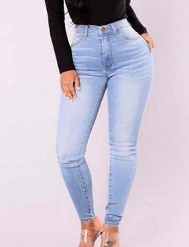 YFLTZ Pantalon Basic Jeans pour Femme - Couleur Unie Light Blue