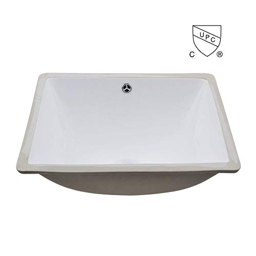- KES cUPC Bathroom Rectangular Porcelain Undermount Sink White Undercounter Sink for Lavatory Vanity Cabinet Contemporary Style with Overflow, BUS110