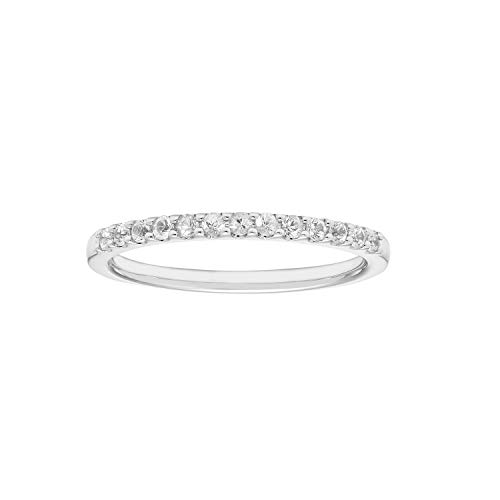 14K White Gold 1/4 Cttw Genuine White Sapphire Stackable 2MM Wedding Anniversary Band Ring - April Birthstone, Size 6 (Sapphire Band Wedding Gold White)