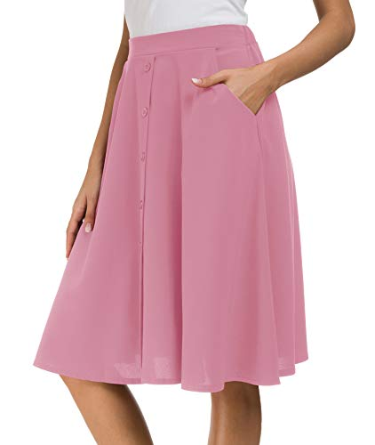 (Afibi Women's High Waisted A Line Pleated Midi Skirt Button Front Skirts with Pocket (X-Large, Pink))