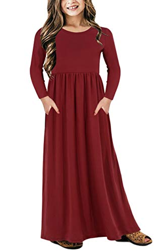 Gorlya Girl's Long Sleeve Floral Print Loose Casual Holiday Long Maxi Dress with Pockets 4-12 Years (7-8Years/Height:130cm, Red Color) -