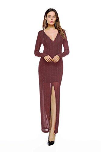 その間家畜外観ZYHOUSE Fashion New Autumn Europe Women's Clothing Solid color Two pieces Long Sleeves Sexy Split Long Dress