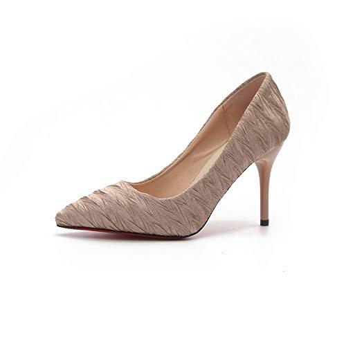 tacón Satén En Mujer De Tacón alto zapatos Otoñales Femeninos Bajo Yukun Boca Otoño de White En De Zapatos Zapatos Creamy Acentuados Zapatos De La ExwvzxHqF