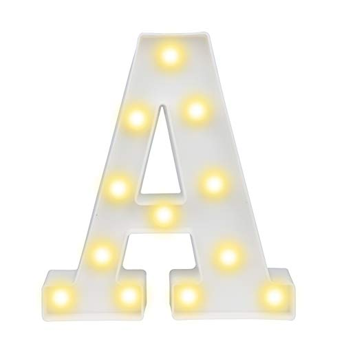 - Pooqla LED Marquee Letter Lights Sign, Light Up Alphabet Letter for Home Party Wedding Decoration A