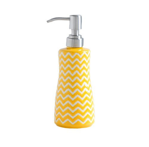 Shiraleah Ceramic Soap Dispenser, 8 by 3-Inch, Yellow Chevron