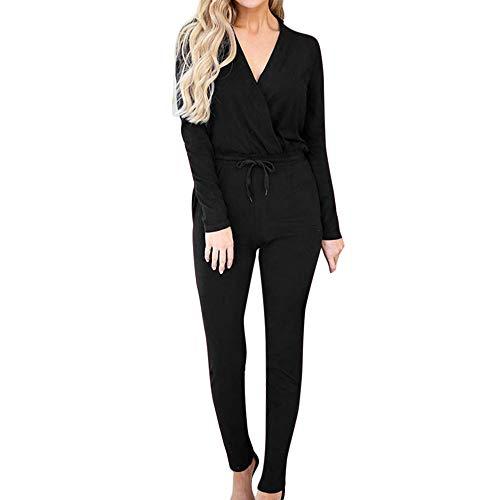 Longay Women's Solid Bandage V-Neck Party Playsuits Ladies Romper Slim Long Jumpsuits (Black, L) -
