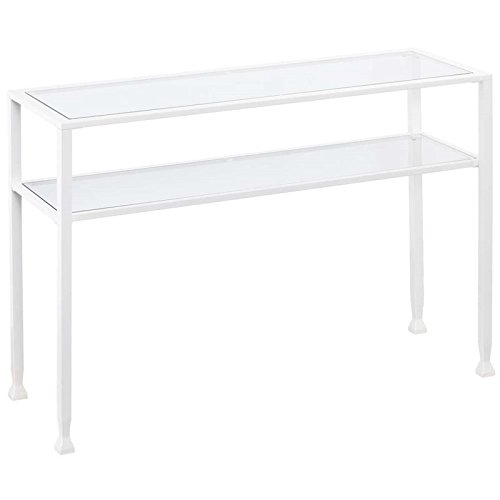 Southern Enterprises Jaymes Glass Top Metal Console Table in White