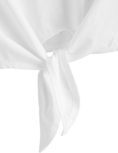 SweatyRocks Women's Loose Short Sleeve Summer Crop T-shirt Tops Blouse White#5 S by SweatyRocks (Image #3)