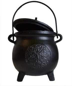 """CircuitOffice Cast Iron Cauldron, for Smudging, Cone Incense, Granular Incense, Charcoal Incense, Rituals, Altars, Wicca, Pagan, Decorations or Gifts (8\"""" Tall Tree of Life with Lid) 31nU8PxbFVL"""