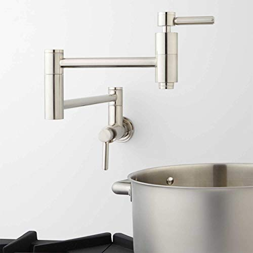 (Signature Hardware 329627 Contemporary Double Handle Wall Mounted Pot Filler)