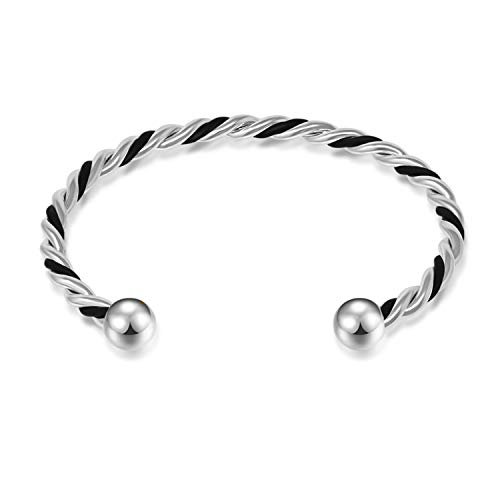 I'S ISAACSONG 14k Gold Plated Expendable Open Leather Bracelet Love Knot Charm Cuff Bangle Bracelets Set for Women (14k White Gold Leather Bracelet)