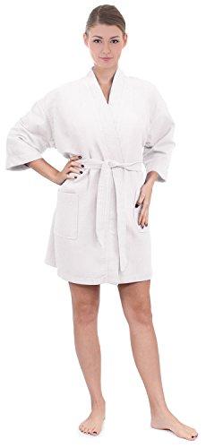 Women's Knee Length Waffle Weave Kimono Bath Robe (White, One Size)