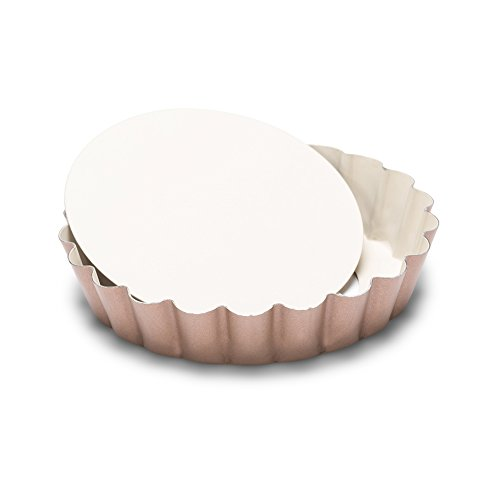 Patisse 03343 Ceramic Series Mini Round Quiche Pan with removable bottom With double non-stick ceramic coating, 4 inch/10cm, White/Copper