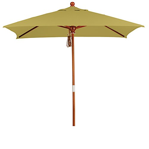 Eclipse Collection 6'x6' Wood Market Umbrella Pulley Open Marenti (Offset Pulley Inserts)