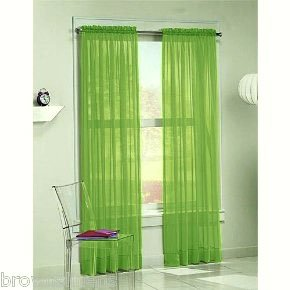 DreamKingdom – 2 PCS Solid Sheer Window Curtains/Drape/Panels/Treatment Brand New 55″Wx84″L – Lime