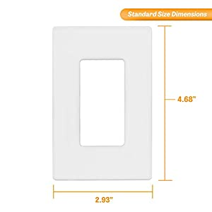 """ENERLITES Screwless Decorator Wall Plates Child Safe Outlet Covers, Size 1-Gang 4.76"""" H x 2.94"""" L, Unbreakable Polycarbonate Thermoplastic, SI8831-W-40PCS, White (40 Pack)"""