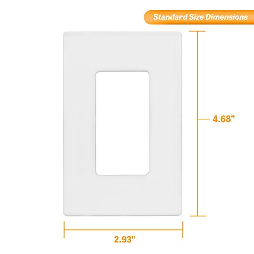 """ENERLITES Screwless Decorator Wall Plates Child Safe Outlet Covers, Size 1-Gang 4.68'' H x 2.94"""" L, Unbreakable Polycarbonate Thermoplastic, SI8831-W-40PCS, White (40 Pack) by ENERLITES (Image #2)"""