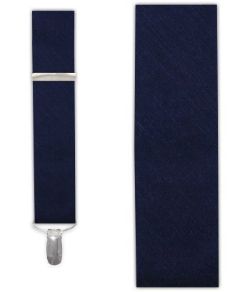 The Tie Bar Linen Blend Sand Wash Solid Navy Clip-on Suspenders
