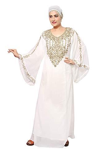 Largo Los Árabe Farasha De Emiratos Abaya Unidos Bufanda Kaftan Vestido Islámico Women'smaxi Estilo Uno Con Musulmán Jilbab Blanco Bedi Talla Árabes EqZfvf