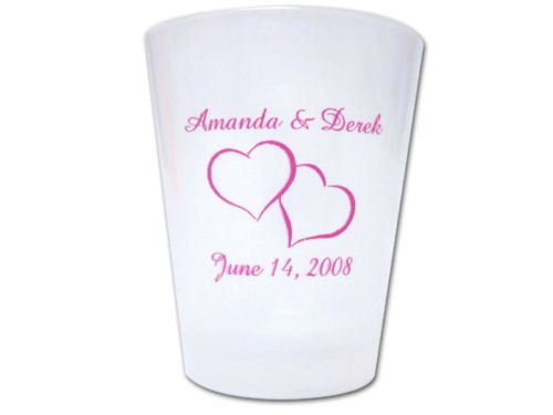 100 PERSONALIZED Heart Theme Wedding FAVORS Plastic Shot Glasses (Personalized Shot Plastic Glasses)