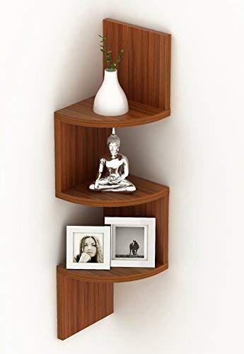 BLUEWUD Morpheus Engineered Wood Wall Decor Corner Shelves/Zigzag Display Rack  3 Shelves