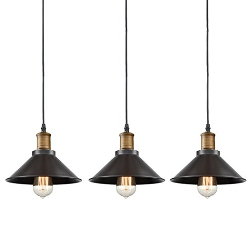 - CLAXY Ecopower Industrial Edison Mini Oil Rubbed Bronze Pendant Light 3 Pack