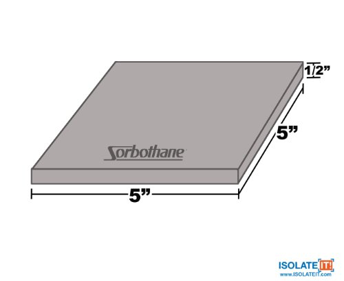 Isolate It: Sorbothane Vibration Isolation Square Pad 50 Duro (.50'' Thick 5'' x 5'') 2-Pack by Isolate It! (Image #3)