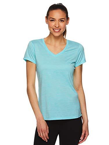 HEAD Women's Short Sleeve Workout Scoop Neck T-Shirt - Performance Tennis Crew Neck Activewear Top - Emily Antigua Sand, Medium