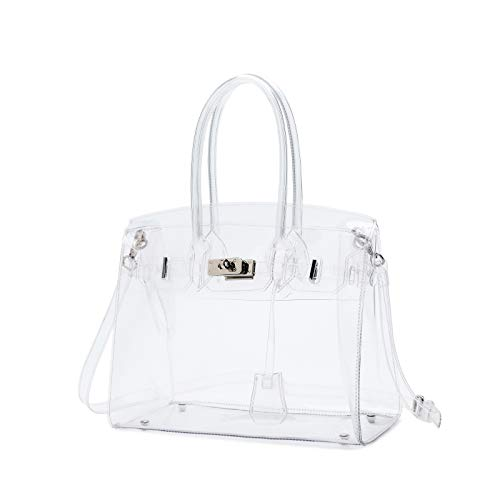 (Lam Gallery Womens Clear Purse Handbags Fashion PVC Plastic See Through Bags for Working Concert Transparent Shoulder Bags(Silver)