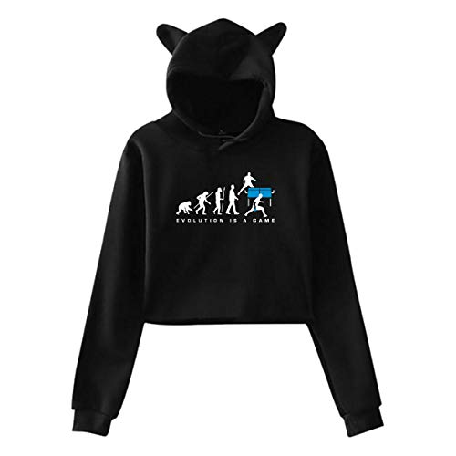 Evolution is A Table Tennis Game Womens Exposed Navel Cat Ear Hoodie Blouse Sweatshirt ()